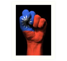 Flag of Taiwan on a Raised Clenched Fist  Art Print