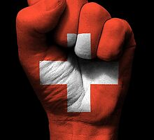 Flag of Switzerland on a Raised Clenched Fist  by Jeff Bartels