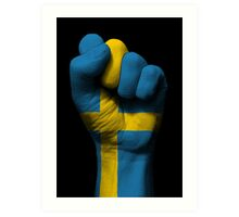 Flag of Sweden on a Raised Clenched Fist  Art Print