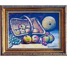 Still life with fruit in basket Photographic Print