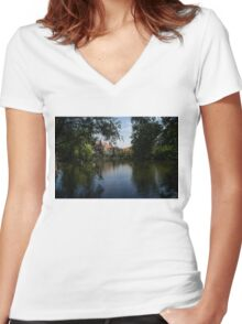 A Glimpse Through the Trees - Bruges, Belgium Women's Fitted V-Neck T-Shirt