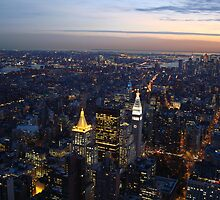 Buildings and Bridges, New York City at Dusk by Michele Ford