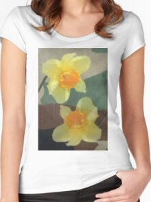 Bi Colour Daffodils Women's Fitted Scoop T-Shirt