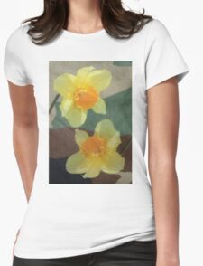 Bi Colour Daffodils Womens Fitted T-Shirt
