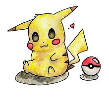 Cute Pikachu Watercolor by moosesquirrel