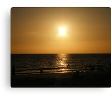 Sihouette beach scene Canvas Print