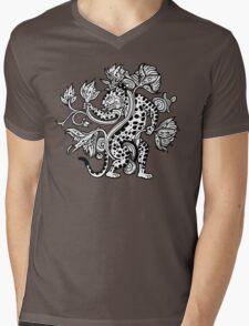 Mayan Jaguar with Lotus Mens V-Neck T-Shirt