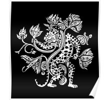 Mayan Jaguar with Lotus Poster