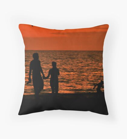 Silhouette of young couple with child Throw Pillow