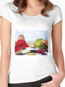 Beach Bumming in Fortaleza, Brasil Women's Fitted Scoop T-Shirt