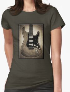 Fender Stratocaster Sepia Border Womens Fitted T-Shirt