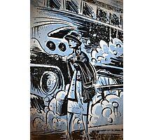 Blue, Audrey Hepburn, Art, Home Decor,Digital Illustration, Drawing, joe badon, retro, 60's  Photographic Print