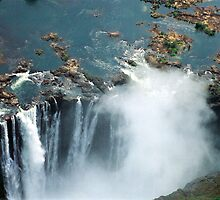 Victoria Falls view from the air by ambermay
