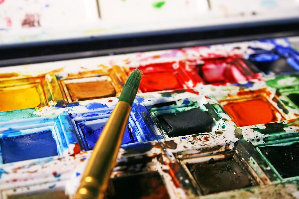 Watercolour paints and paintbrush by Katie Batchelor