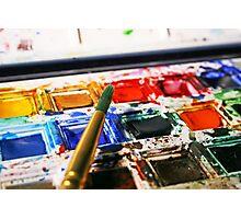 Watercolour paints and paintbrush Photographic Print