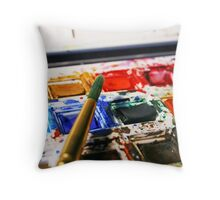 Watercolour paints and paintbrush Throw Pillow