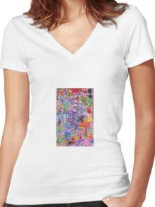 DRAWN OUT - SMALL FORMAT Women's Fitted V-Neck T-Shirt