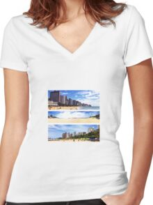 The Beaches of Fortaleza Women's Fitted V-Neck T-Shirt