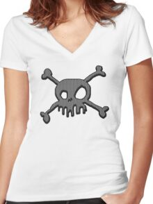 Carbon Skull Women's Fitted V-Neck T-Shirt