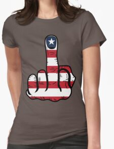 Middle Finger USA Flag Womens Fitted T-Shirt