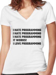 I Love Programming Women's Fitted V-Neck T-Shirt