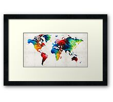 World Map 19 - Colorful Art By Sharon Cummings  Framed Print