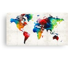 World Map 19 - Colorful Art By Sharon Cummings  Canvas Print