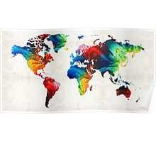 World Map 19 - Colorful Art By Sharon Cummings  Poster