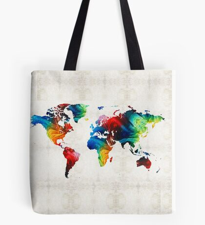 World Map 19 - Colorful Art By Sharon Cummings  Tote Bag