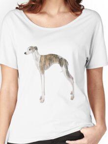 Tall Dog Whippet- White Background Women's Relaxed Fit T-Shirt