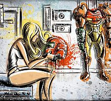 Metroid, Art, shamus, nintendo 64, nintendo, gamecube, video game, girl, robot, machine, underwear, christmas, present, joe badon by Joe Badon