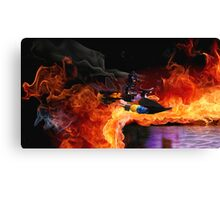 Batman Boat Flying through Flames Canvas Print