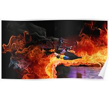 Batman Boat Flying through Flames Poster