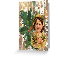 Victorian Merry Christmas Holly Girl Greeting Card