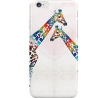 Colorful Giraffe Art - I've Got Your Back - By Sharon Cummings iPhone Case/Skin