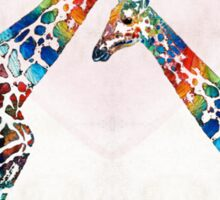 Colorful Giraffe Art - I've Got Your Back - By Sharon Cummings Sticker
