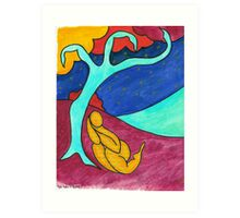Tree figure abstract landscape Art Print