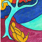 Tree figure abstract landscape by Sandra Lock