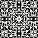 Black & White Folk Art Pattern by micklyn