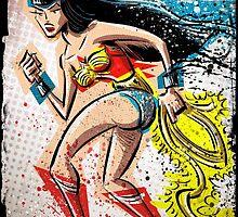 Bettie Page, Wonder Woman, Art, Betty Page, diana, princess, dc comics, comic book, character, super hero, joe badon by Joe Badon