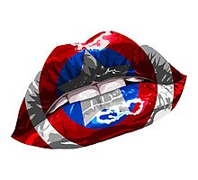 Captain America Graphic Lips Photographic Print