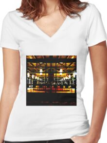 UC Davis Coffee House at Night Women's Fitted V-Neck T-Shirt