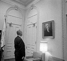 LBJ Looking At FDR by warishellstore