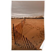 Snow Fence On The Beach Poster