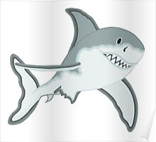Gray Great White Shark Cartoon Fanciful Sea Creature Poster