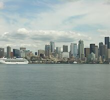 Seattle skyline on an overcast day from the ferry 3 by Angela Fisher