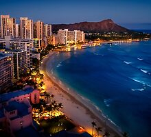 Waikiki Beach and Honolulu Skyline, Hawaii by heyengel