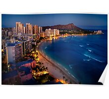 Waikiki Beach and Honolulu Skyline, Hawaii Poster