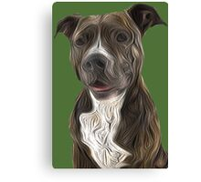 Pit Bull Terrier Oil Painting Style Canvas Print
