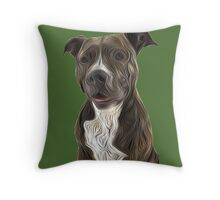Pit Bull Terrier Oil Painting Style Throw Pillow